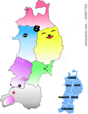 Animal silhouette of Tohoku 6 prefecture map 16887769