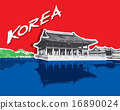 Gyeongbokgung Palace in Seoul, South Korea, vector 16890024