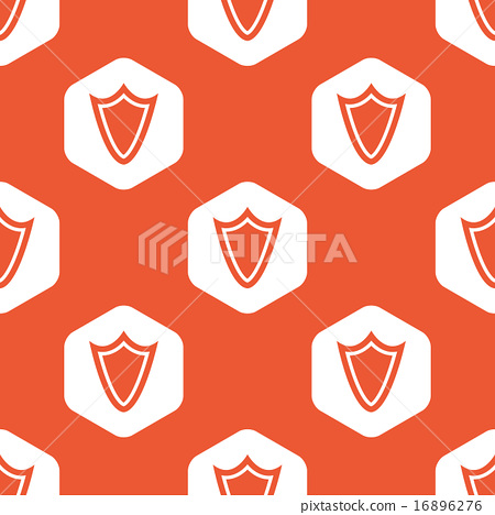 Orange hexagon shield pattern 16896276