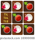 Tic-Tac-Toe of tomato juice and coconut water 16900088