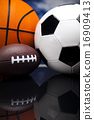 Sport equipment and balls, vivid colorful theme 16909413