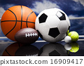 Sport equipment and balls, vivid colorful theme 16909417
