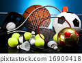 Sport equipment and balls, vivid colorful theme 16909418