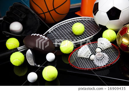 Stock Photo: Sport equipment and balls, vivid colorful theme