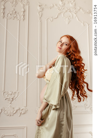 b9f68fc4c72 Pregnant woman smiling and standing in sexy underwear - Stock Photo ...