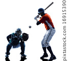 Men baseball players silhouette isolated 16915390