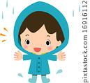 一个男孩穿着雨衣 16916112