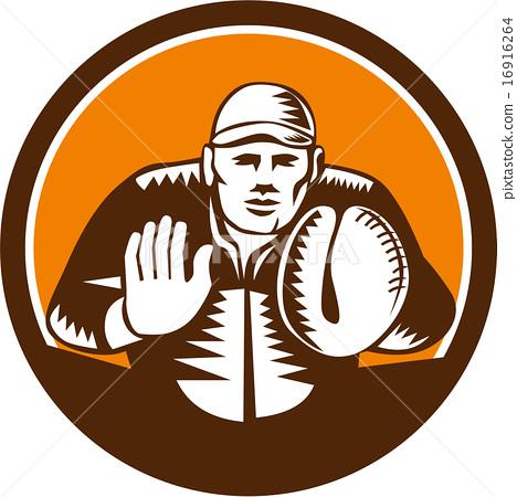 Baseball Catcher Gloves Circle Woodcut 16916264
