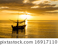 Boat at sunrise 16917110