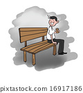 Man sitting on bench drinking coffee 16917186