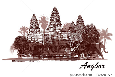Angkor wat with elephants and palm trees 16920157