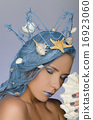 woman with blue hair, crown and shells 16923060