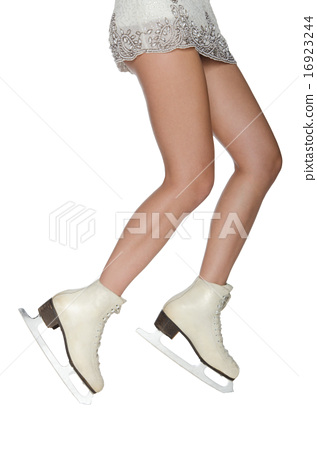 Woman rides in skates on ice 16923244