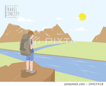 Backpacker standing on cliff looking landscape. 16925418