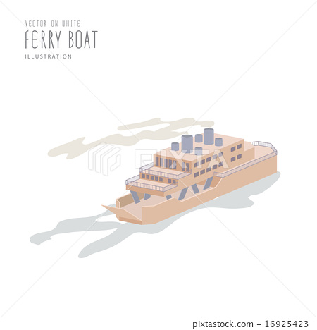 Ferry Boat on white background flat vector. 16925423