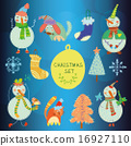 Cute set of Christmas and New Year's  16927110