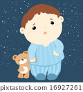 cute boy and his doll sleepless vector 16927261
