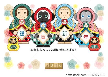 猴生肖 新年贺卡模板 猴子 16927307
