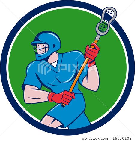 Lacrosse Player Crosse Stick Running Circle  16930108