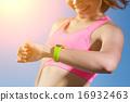 sport woman wearing smart watch 16932463