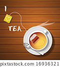 a cup of hot tea and tea bag with steam 16936321