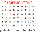 Camping flat vector icon set 16954472