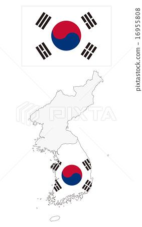 South Korea map and flag - Stock Illustration [16955808] - PIXTA on
