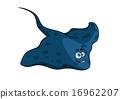 黄貂鱼 蓝色 卡通 16962207