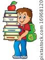 Boy holding books theme image 1 16968120