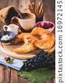 Breakfast with coffee, milk grape and croissants  16972145