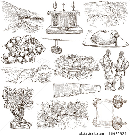Israel - An hand drawn collection. Freehands. 16972921