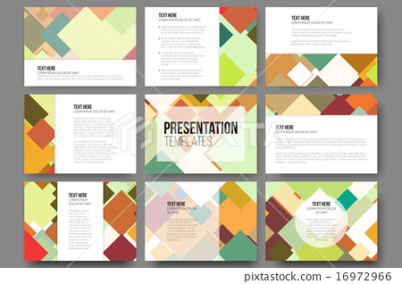 set of 9 templates for presentation slides abstract colored