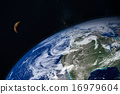 planet Earth and moon 16979604