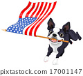 Boston Terrier Running Flag 17001147
