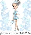 Vector fashion cute happy girl 17016284