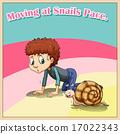 Man crawling beside snail 17022343