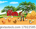 Farmer with chickens and eggs 17022585