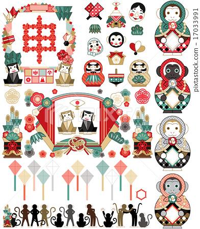 2016 년 신 년 연하장 용 일러스트 컷 디자인 소재집 (일본식 다양한) 빨강 계열 17033991