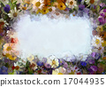 Oil painting flowers. Blank space for your design 17044935
