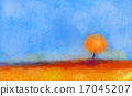 Abstract landscape, tree and field oil painting 17045207