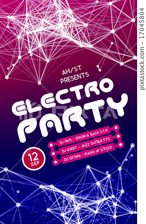 Night Disco Party Poster Background - Stock Illustration
