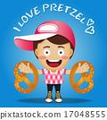 happy man carrying big pretzel 17048555