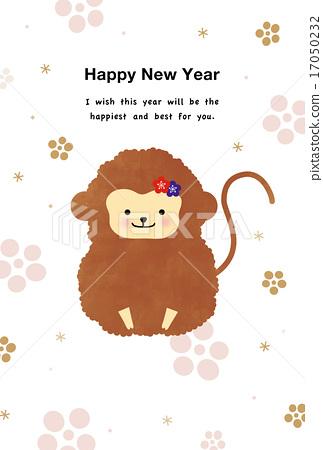 New Year card illustration monkey monkey monkey 17050232