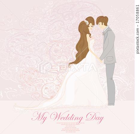 Wedding Couple Background Invitation Card Stock Illustration