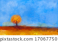Abstract landscape, tree and field oil painting 17067750