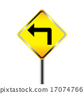 Turn left traffic sign on white background 17074766