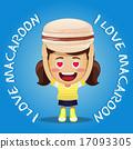 happy woman carrying big macaroon or macaron 17093305