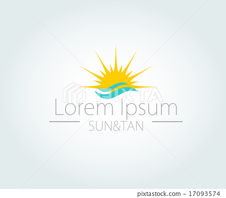 Vector Logo with yellow sun and blue sea waves.  17093574