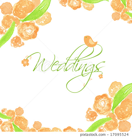 Wedding card with peach peonies and cute bird. 17095524