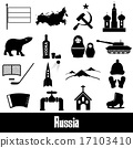 Russia country theme symbols stickers set eps10 17103410